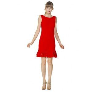 Eva Varro Sleeveless Jersey Fringe Hem Dress | L